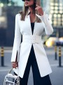 White Patchwork Belt Slim Band Collar Long Sleeve Fashion Suit
