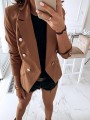 Camel Patchwork Buttons Pockets Elegant Notch Lapel Long Sleeve Fashion Suit