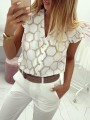 White Floral Ruffle Single Breasted Bodycon Going out Blouse