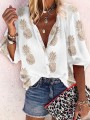 White Patchwork Print Single Breasted Elbow Sleeve V-neck Fashion Blouse