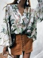Green Patchwork Appliques Long Sleeve V-neck Fashion Blouse
