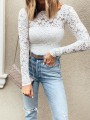 White Lace Wavy Edge Long Sleeve Fashion Going out Blouse