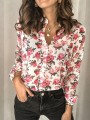 White Pink Floral Print Ttrendy Long Sleeve Sweet Blouse