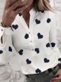 White Heart Floral Buttons V-neck Long Sleeve Fashion Blouse