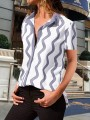 Grey White Striped Single Breasted Turndown Collar Short Sleeve Blouse