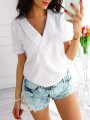 White Irregular Turndown Collar Short Sleeve Fashion Chiffon Blouse