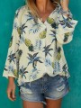 White Pineapple Floral Buttons Long Sleeve Fashion Blouse