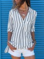 Grey White Striped Pockets Buttons V-neck Slit Fashion Blouse