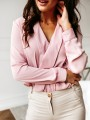 Pink Buttons Turndown Collar Long Sleeve Fashion Blouse