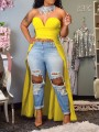 Yellow Off Shoulder Irregular High-Low Swallowtail Party Blouse