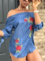Blue Floral Embroidery Print Off Shoulder Elbow Sleeve Cute Denim Blouse