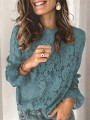 Blue Patchwork Lace Round Neck Long Sleeve Blouse