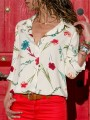 Beige Floral Single Breasted Long Sleeve Fashion Blouse