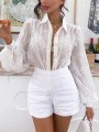 White Patchwork Lace Turndown Collar Long Sleeve Fashion Blouse