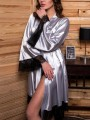 Silver Patchwork Lace Belt Sleepwear Collarless Long Sleeve Fashion Outerwear