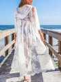 White Patchwork Lace Cover Up Bikini Smock Hooded Long Sleeve Fashion Outerwear