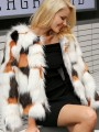 White Color Block Fuzzy Fatigue Fur Belt Pockets Casual Outerwear