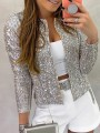 Champagne Patchwork Sequin Sparkly Glitter Birthday Party Outerwear