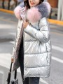 Silver Patchwork Pockets Zipper Comfy Hooded Fashion Outerwear