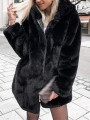 Black Patchwork Faux Fur Hooded Long Sleeve Fashion Outerwear