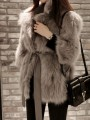 Khaki Patchwork Belt Turndown Collar Long Sleeve Modern Fur Coat