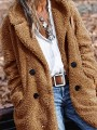 Camel Patchwork Buttons Pockets Turndown Collar Long Sleeve Fashion Teddy Outerwear