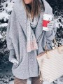 Grey Patchwork Pockets Comfy Hooded Long Sleeve Fashion Outerwear