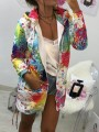 White Colorful Print Pockets Zipper Hooded Long Sleeve Fashion Sweatshirt Outerwear