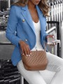 Blue Double Breasted Turndown Collar Long Sleeve Fashion Blazer Coat