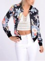 Black Floral Zipper Embroidery Others Long Sleeve Fashion Outerwears