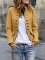 Khaki Double Breasted Pockets Band Collar Long Sleeve Blazer Coat