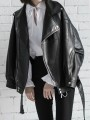 Black Patchwork Zipper Pockets PU Turndown Collar Long Sleeve Fashion Outerwear