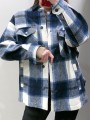 Blue Grey Plaid Print Single Breasted Pockets Turndown Collar Long Sleeve Coat