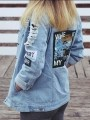 Blue Patchwork Pattern Buttons Ripped Destroyed Turndown Collar Long Sleeve Fashion Outerwear
