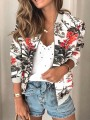 White Floral Zipper Print Round Neck Long Sleeve Fashion Outerwear