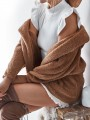 Brown Faux Fur Hooded Long Sleeve Oversize Fashion Coat
