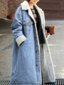 Light Blue Pockets Single Breasted Turndown Collar Lamb Wool Jeans Coat