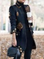 Blue Floral Print Pocket Turndown Collar Long Sleeve Outerwear