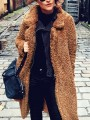 Brown Pockets Turndown Collar Long Sleeve Fashion Oversize Teddy Coat