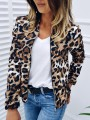 Brown Leopard Print Zipper Round Neck Long Sleeve Fashion Coat