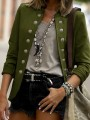 Army Green Double Breasted Band Collar Long Sleeve Elegant Blazer Coat