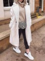 White Button Turndown Collar Long Sleeve Oversize Teddy Coat