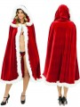 Red White Lace-up Patchwork Christmas Cloak Poncho Jacket