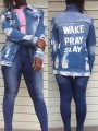 Blue Monogram Single Breasted Pockets Long Sleeve Distressed Fashion Jeans Coat