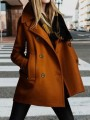 Camel Patchwork Pockets Skirted Peacoat Turndown Collar Fashion Outerwears