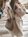 Camel Pocket Button Hooded Long Sleeve Elegant Wool Coat