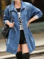 Blue Ripped Destroyed Button Long Sleeve Fashion Jean Coat