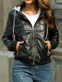 Black Pockets Zipper Drawstring Hooded Long Sleeve PU Leather Coat