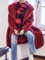 Red Pockets Buttons Turndown Collar Long Sleeve Cute Faux Fur Casual Long Coat