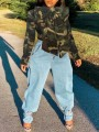 Army Green Camouflage Pattern Bowknot Long Sleeve Denim Cardigan Coat